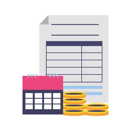 form calendar coins money tax payment vector illustration Imagens - 129065076