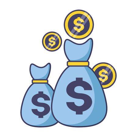 money bag coins dollar tax payment  vector illustration