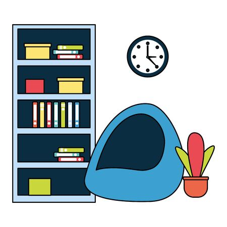 office bookshelf bean chair furniture vector illustration 向量圖像