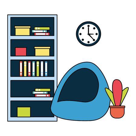 office bookshelf bean chair furniture vector illustration Stock Illustratie