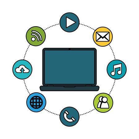 Social media and multimedia icon set, Apps communication digital marketing and internet theme Vector illustration Stock Vector - 129074756