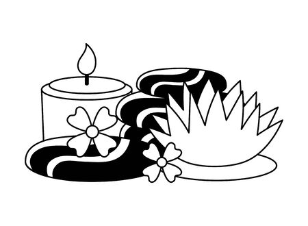 hot stones candle flowers spa treatment therapy vector illustration
