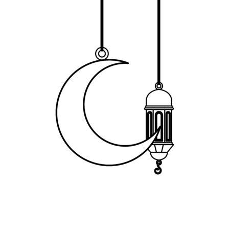 ramadan kareem lamp and moon hanging decoration vector illustration design