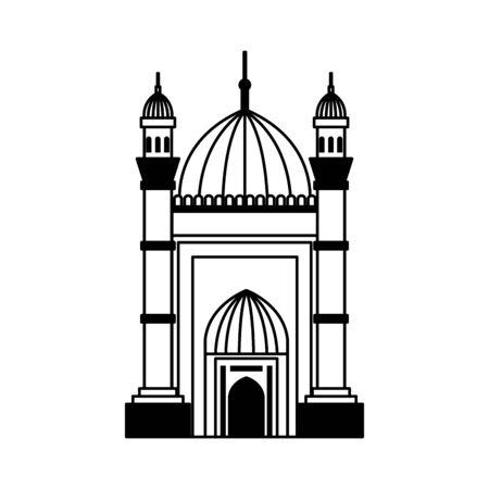 Mezquita Badshahi edificio palacio icono diseño ilustración vectorial Ilustración de vector