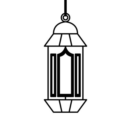 ramadan kareem lamp hanging decoration vector illustration design 스톡 콘텐츠 - 129074969