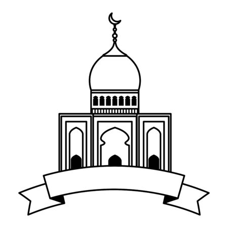 Mosque building with ribbon vector illustration design