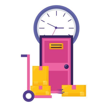 handcart boxes door clock fast delivery business vector illustration