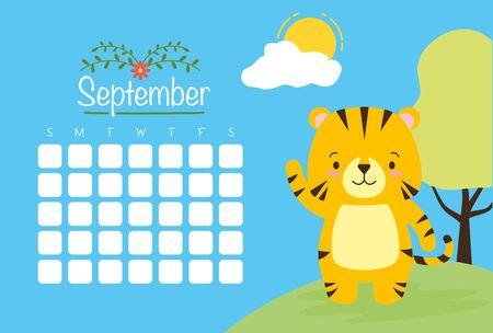 cute tiger animal calendar cartoon vector illustration