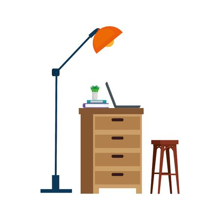 house place with drawer scene vector illustration design