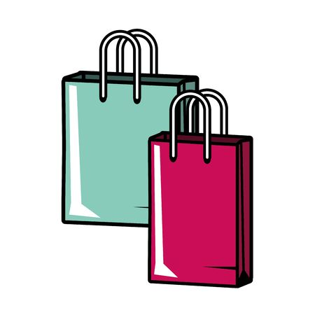 shopping bags commerce pop art vector illustration 版權商用圖片 - 129075692