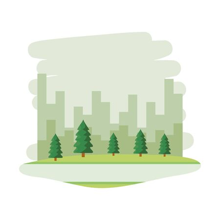 park scene with cityscape background vector illustration design Çizim