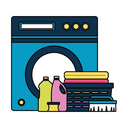 washing machine laundry bottles spring cleaning tools vector illustration 일러스트