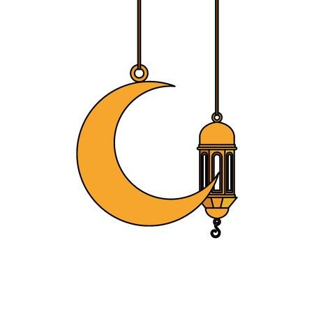 ramadan kareem lamp and moon hanging decoration vector illustration design 스톡 콘텐츠 - 129082765