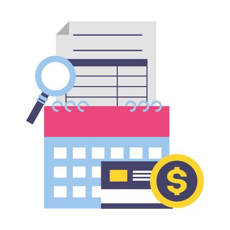 calendar report bank card money magnifier tax payment vector illustration Ilustração