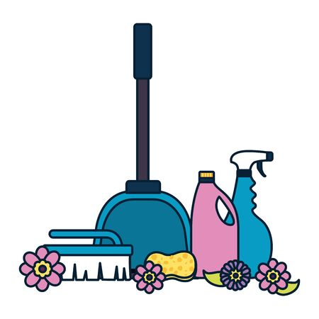 broom brush spray disinfectant spring cleaning tools vector illustration Illustration