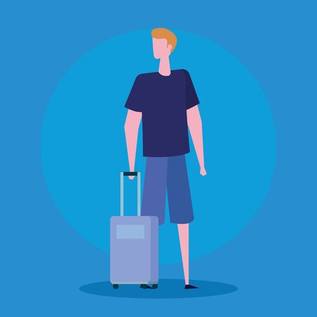 man with baggage and hairstyle with casual clothes over blue background, vector illustration Ilustração