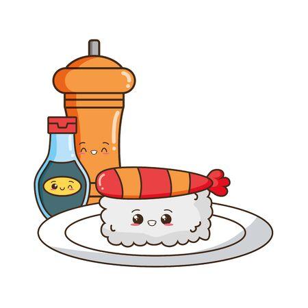 kawaii sushi pepper and sauce food cartoon vector illustration Archivio Fotografico - 129077747