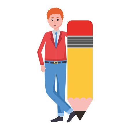 teacher man with pencil supply vector illustration