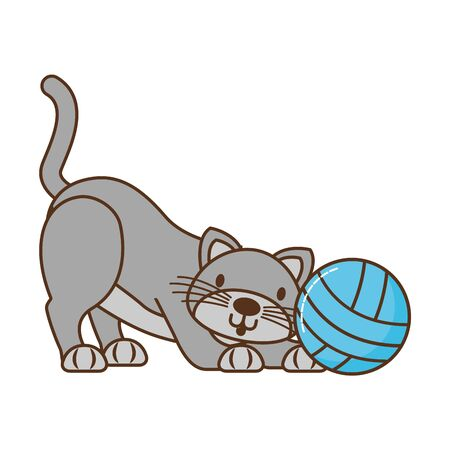 cat with ball of yarn isolated icon vector illustration design