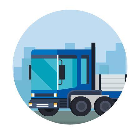Servicio de entrega de camiones icono de vehículo diseño ilustración vectorial