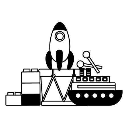 baby toys rocket boat drum blocks vector illustration Stock Illustratie