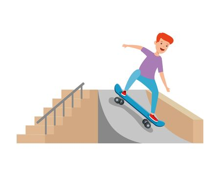 happy young boy in skateboard on the ramp vector illustration design