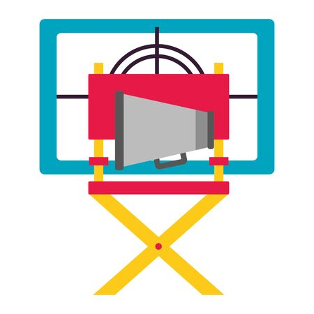 chair director speaker countdown cinema movie vector illustration Foto de archivo - 129085908