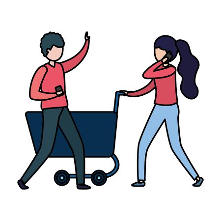 couple with smartphone and shopping cart vector illustration design