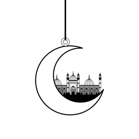 moon hanging with badshahi mosque building vector illustration design