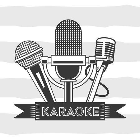 microphones karaoke retro style background vector illustration Иллюстрация