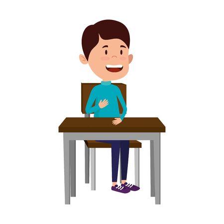 happy student boy seated in school desk vector illustration design