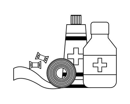 medical medicine bottle tube and bandage equipment vector illustration