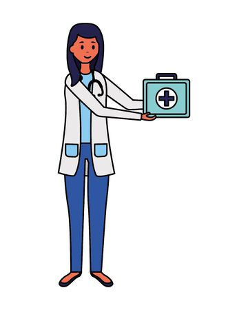 medical woman professional staff with uniform vector illustration Çizim