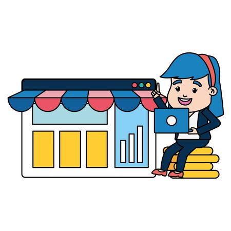 businesswoman online payment laptop money website market vector illustration Иллюстрация