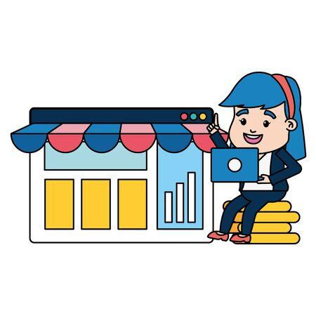 businesswoman online payment laptop money website market vector illustration Illustration