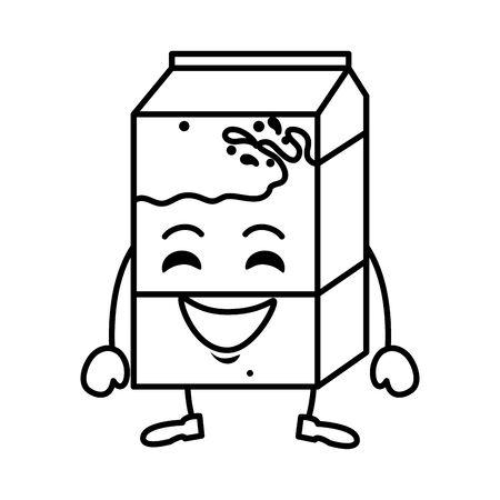 delicious milk box kawaii character vector illustration design Ilustração