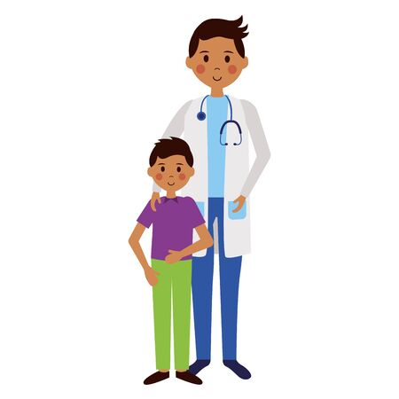 doctor and patient boy characters vector illustration Иллюстрация