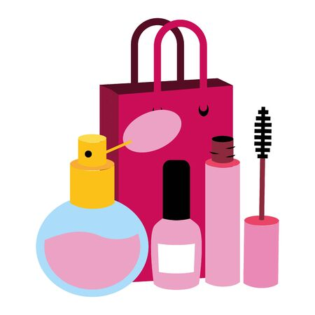 shopping bag mascara brush nail polish fragrance pop art vector illustration