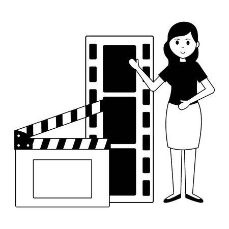 woman film strip clapboard production vector illustration Illustration