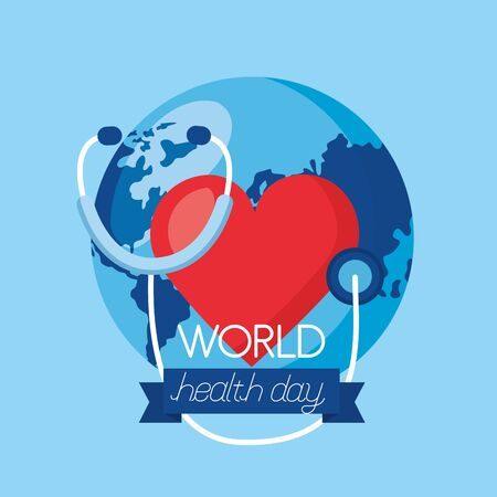 heart stethoscope world health day vector illustration Ilustração