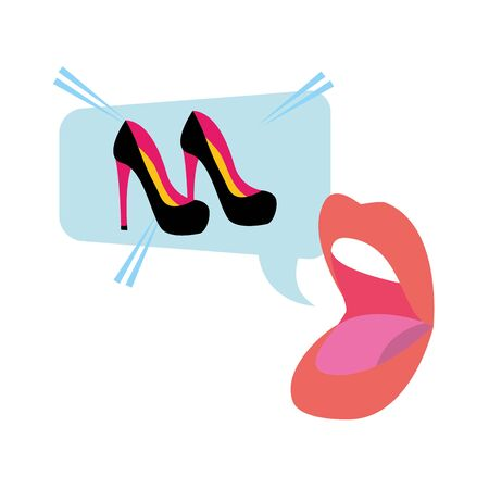 open mouth high heel shoes speech bubble pop art vector illustration Stockfoto - 129110365