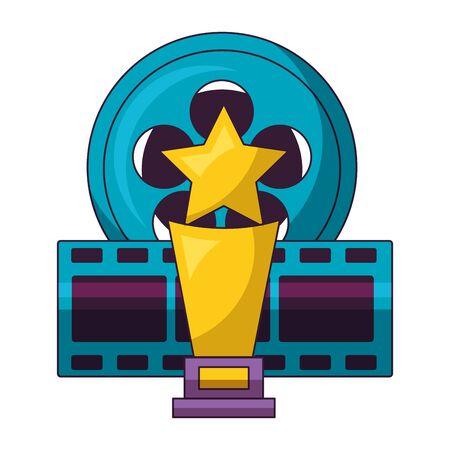 film reel strip award cinema movie vector illustration Ilustração