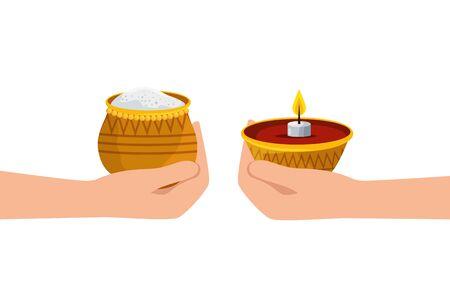 hands lifting candle and food ramadan kareem vector illustration design