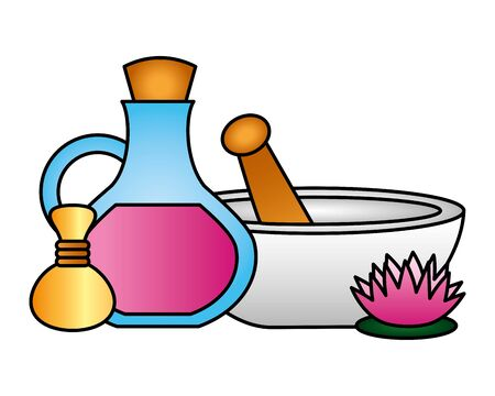 bowl oil bottle compress flower spa therapy vector illustration Banco de Imagens - 129110567
