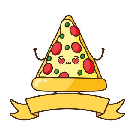kawaii pizza fast food cartoon vector illustration 일러스트