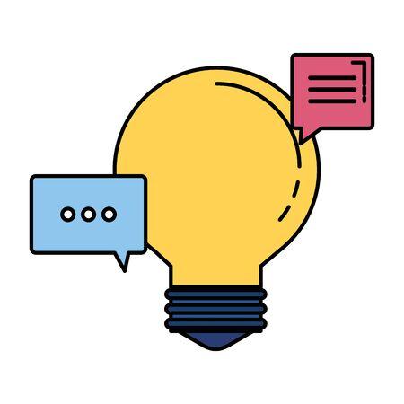 bulb idea think with speech bubbles vector illustration design