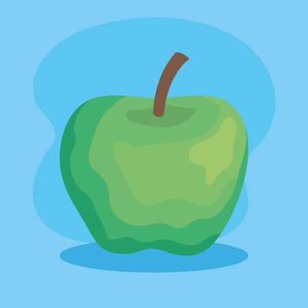 delicious apple healthy fruit nutrition over blue background, vector illustration