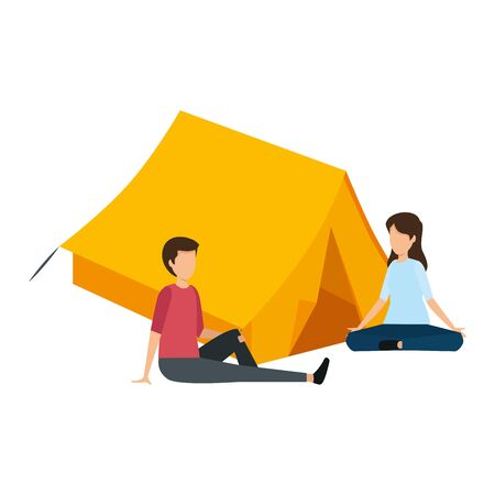 tent camping with young couple vector illustration design 向量圖像
