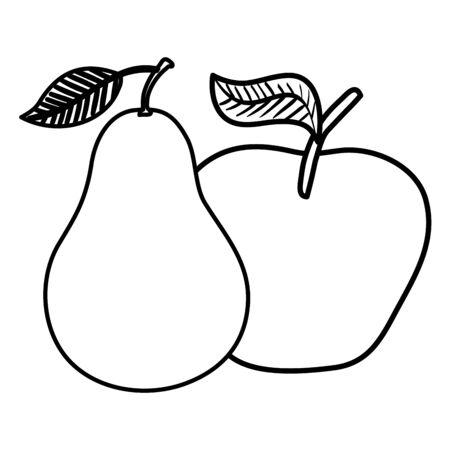 fresh pear and apple fruits nature vector illustration design Illustration