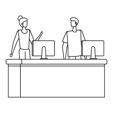couple working in desk with computers vector illustration design Banque d'images - 129114788